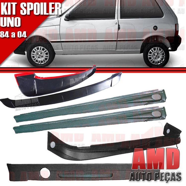 Kit Spoiler Uno 84 á 04 2 Portas Dianteiro + Lateral Com Tela + Traseiro + Aerofolio   - Amd Auto Peças