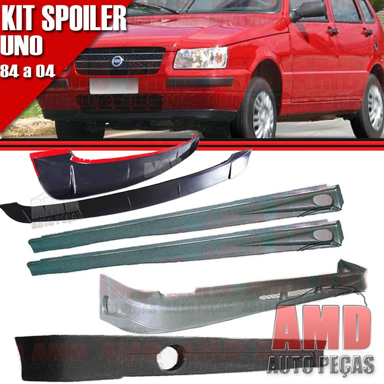 Kit Spoiler Uno 84 � 04 4 Portas Dianteiro + Lateral Com Tela + Traseiro + Aerofolio   - Amd Auto Pe�as