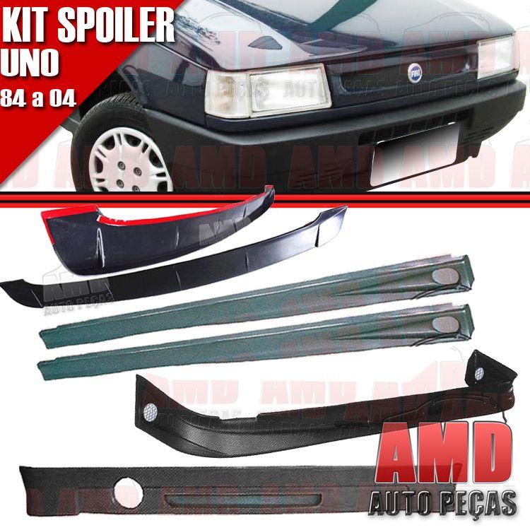 Kit Spoiler Uno 84 á 04 4 Portas Dianteiro + Lateral Com Tela + Traseiro + Aerofolio   - Amd Auto Peças