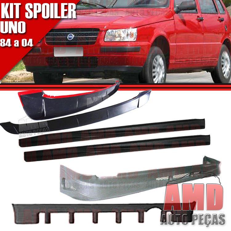 Kit Spoiler Uno 84 á 04 4 Portas Dianteiro + Lateral Sem Tela + Traseiro + Aerofolio   - Amd Auto Peças