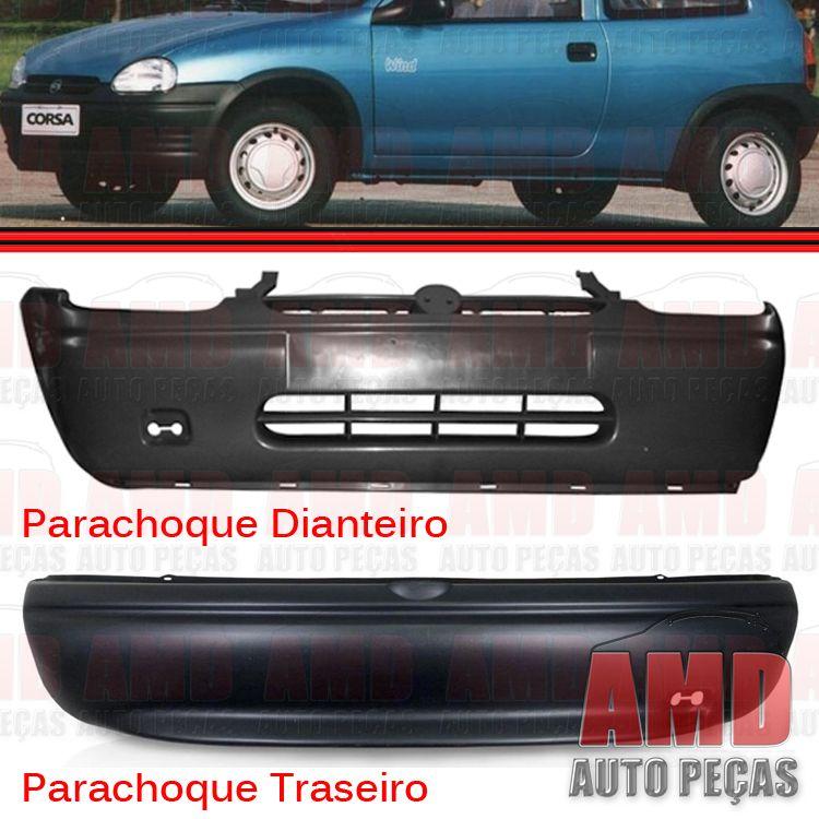 Kit Parachoque Dianteiro e Traseiro Corsa Wind Hatch Super 94 a 99 Preto Poroso Texturizado  - Amd Auto Peças