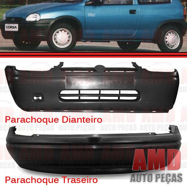 Kit Parachoque Dianteiro e Traseiro Corsa sedan 94 a 99 Preto Liso  - Amd Auto Peças