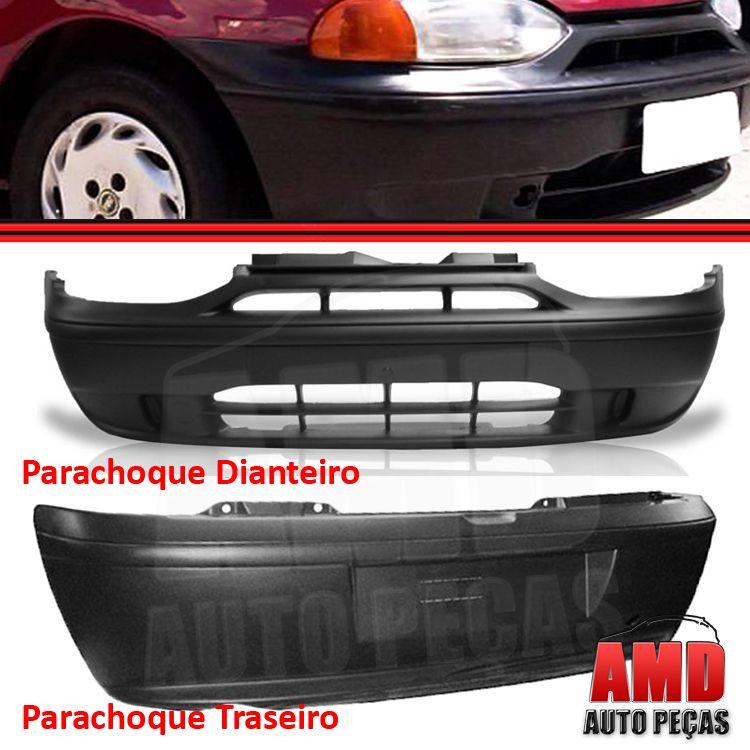 Kit Parachoque Dianteiro e Traseiro Palio 96 a 00 Preto Poroso  - Amd Auto Peças