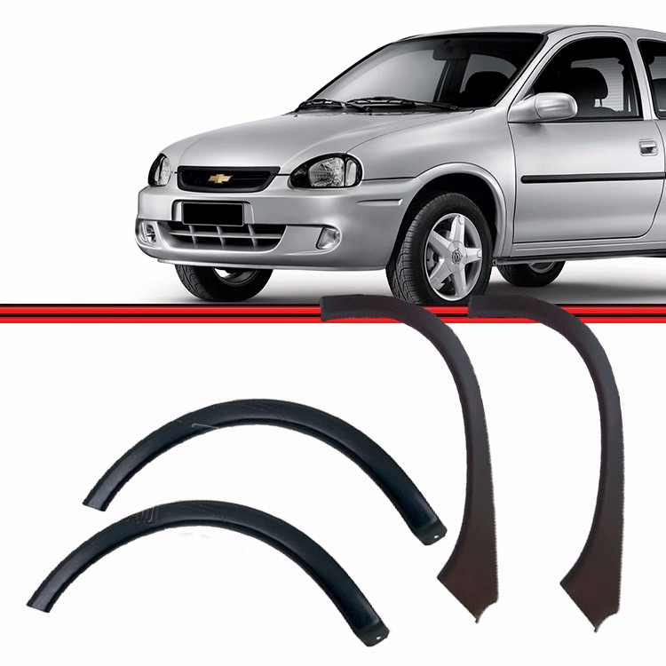 Kit Moldura Paralama Corsa Wind Corsa Hatch Super Dianteiro e Traseiro 94/02 Preto Poroso Texturizado  - Amd Auto Peças