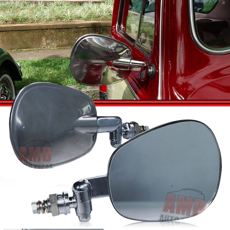 Espelho Retrovisor Fusca A�o Inox Modelo Raquete  - Amd Auto Pe�as