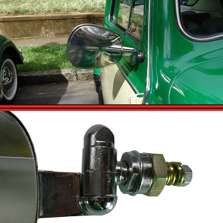 Espelho Retrovisor Fusca Aço Inox Modelo Raquete  - Amd Auto Peças