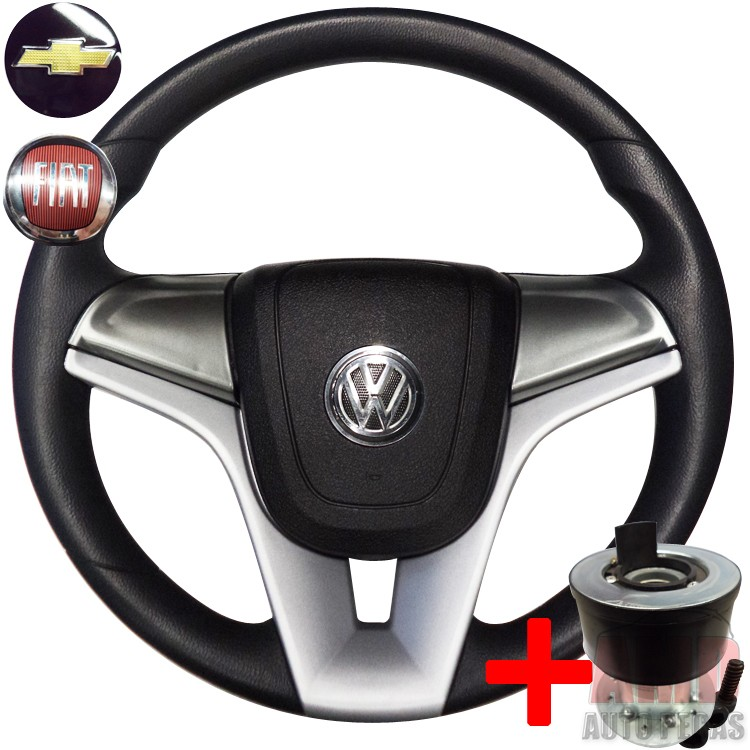Volante Cruze Gol Saveiro Voyage G5 Polo Fox Golf + Cubo Grafite  - Amd Auto Pe�as
