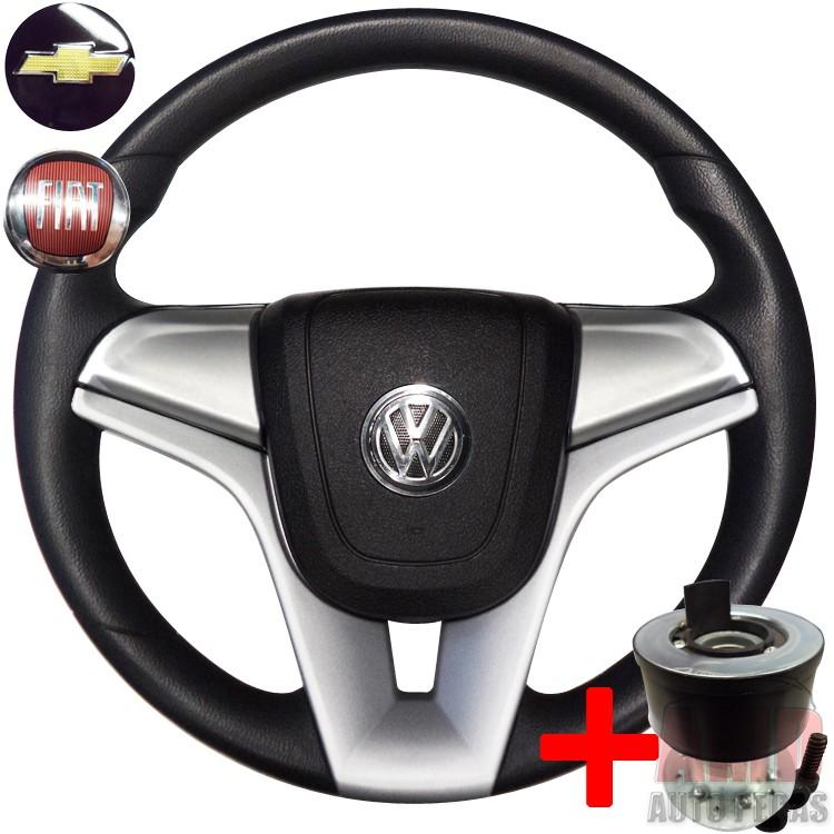 Volante Cruze Gol Parati Saveiro Golf G2 G3 G4 + Cubo Prata  - Amd Auto Pe�as
