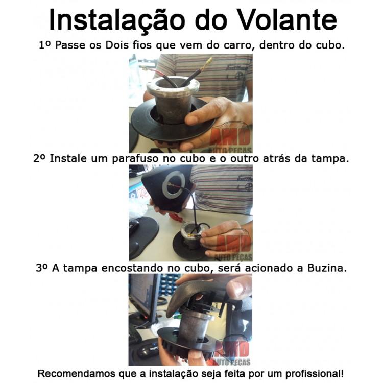 Volante Cruze Fusca Brasilia Variant 59 a 76 + Cubo Preto  - Amd Auto Pe�as