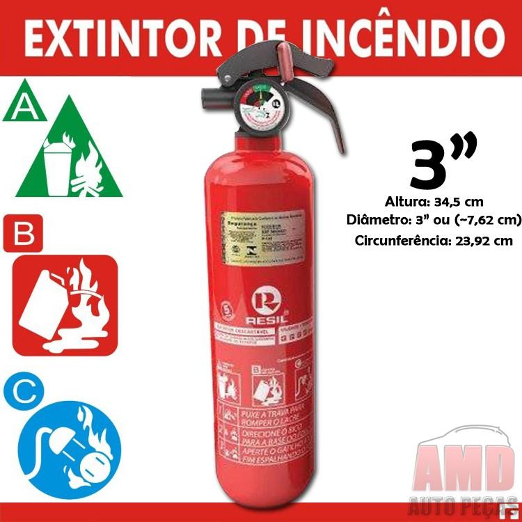 """Extintor Incêncio Automotivo Carro ABC Inmetro 5 Anos 3"""" Magrinho  - Amd Auto Peças"""