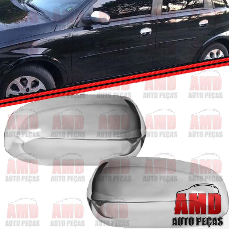 Par Aplique Capa Retrovisor Corsa Montana 03 a 11 Cromado  - Amd Auto Pe�as