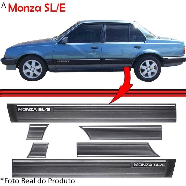 Jogo Friso Lateral Monza 87 a 90 4 Portas 15CM Plástico PVC Preto Poroso Texturizado Com Filete Prata