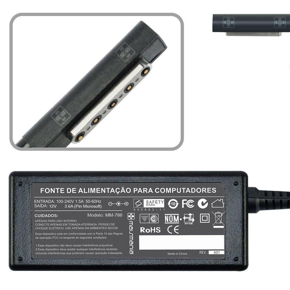 Fonte Carregador Microsoft Surface (rt) Tablet 12v 3.6a 786 - EASY HELP NOTE