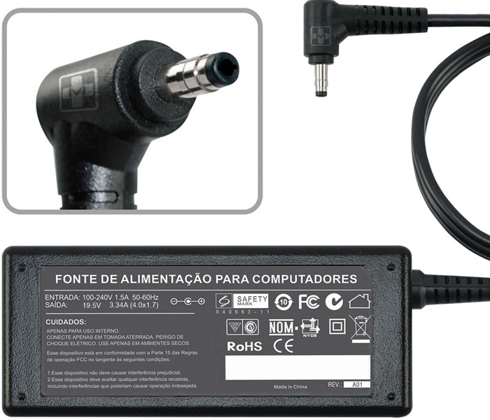 Fonte Carregador P/ Dell 5470 - 5480 19.5v 3.34a 65w Chanfro MM 783 - EASY HELP NOTE