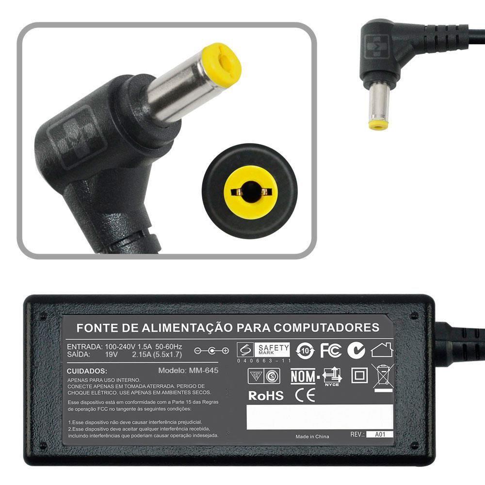 Fonte Carregador Para Acer Aspire One  Nav50a - 19v 2.15a 40w MM 645 - EASY HELP NOTE