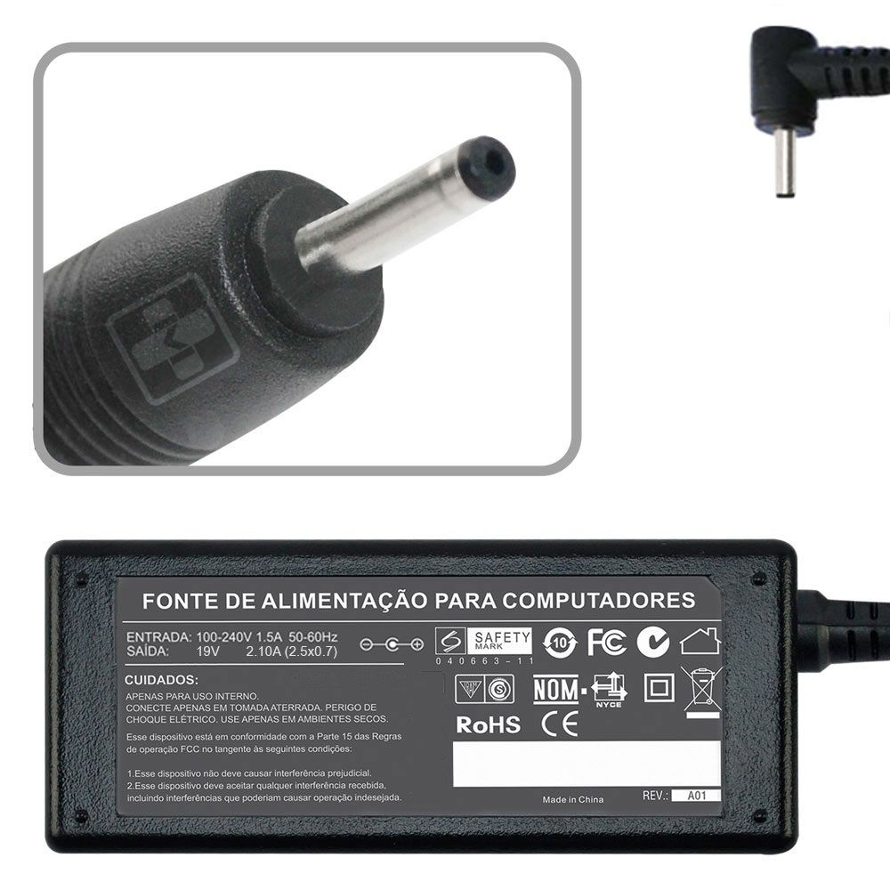 Fonte Carregador Para Asus Eeepc 1101ha Series  19v 2.1a 40w MM 608 - EASY HELP NOTE