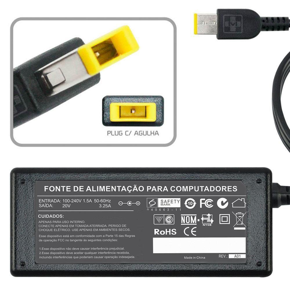 Fonte Carregador Para Lenovo Thinkpad T450s 20v 3.25a 65 844 - EASY HELP NOTE