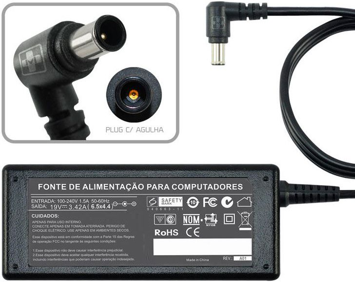 Fonte Para Monitor Tv Lg M2250d Séries 19v 3,42a 65w Agulha MM 644 - EASY HELP NOTE