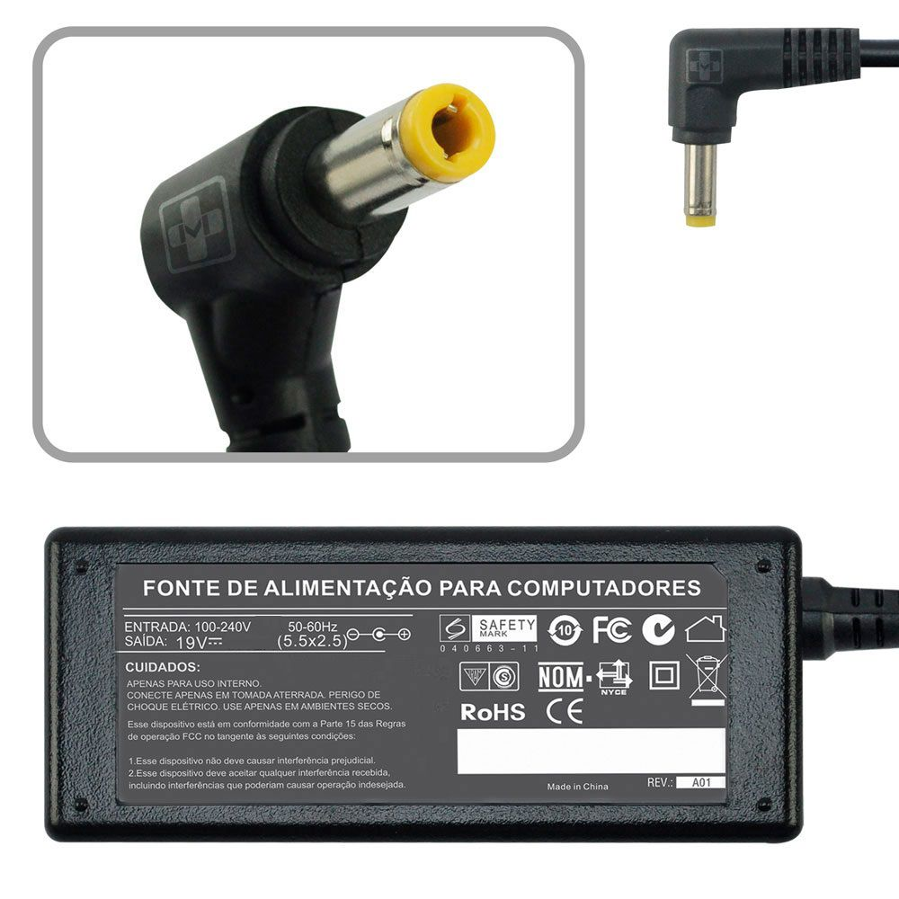 Kit 10 Pç Fonte Carregador P/ Notebook Padrão P8 19v 45w 670 KIT - EASY HELP NOTE