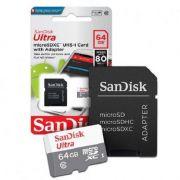 CARTÃO MEMÓRIA MSD 64GB ULTRA SANDISK FHD SDSQUNS-064G-GN3MA