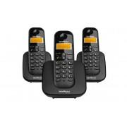 TELEFONE S/FIO DIGITAL + 2 RAMAIS INTELBRAS TS3113 PRETO
