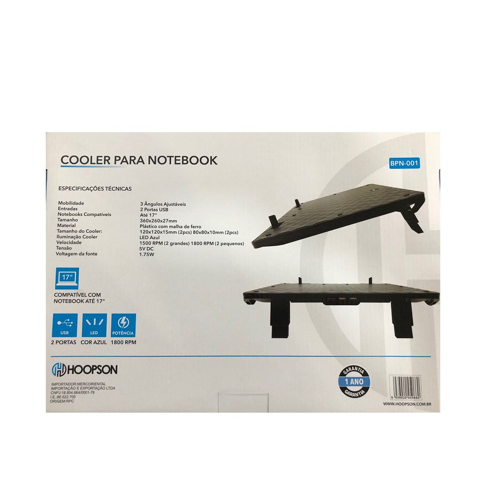 "BASE COOLER P/NOTE 17"" C/2 x USB + LED HOOPSON BPN-001 AZUL  - TELLNET"