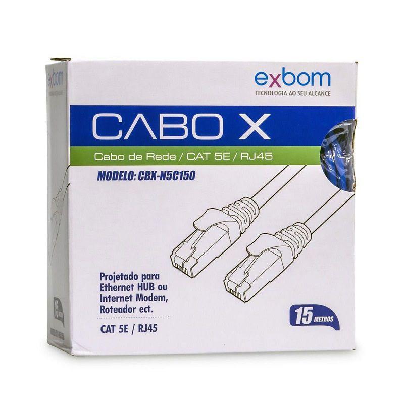 CABO REDE CAT5e EXBOM CBX-N5C150 15M AZUL  - TELLNET