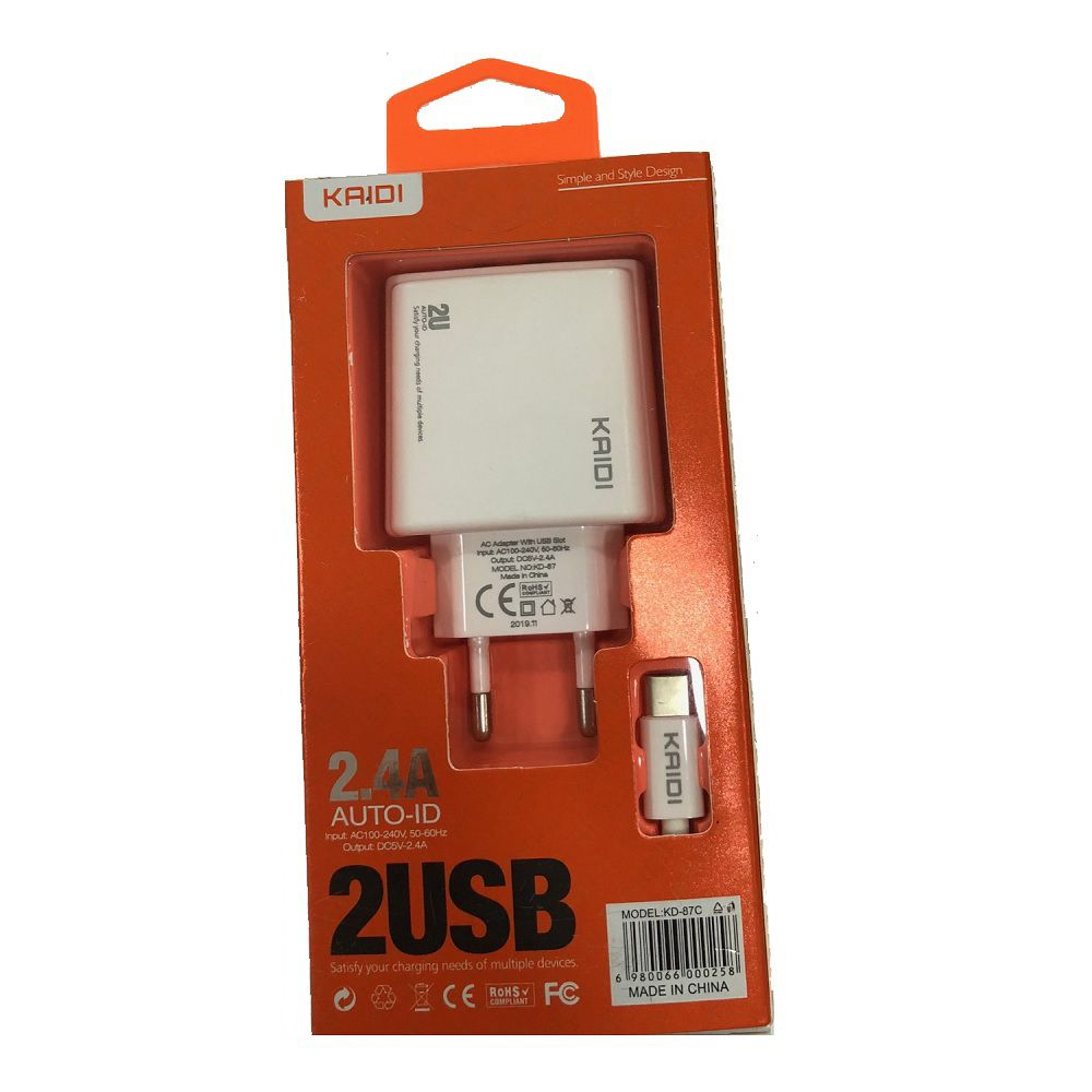 CARREGADOR TOMADA 2 x USB 2.4A + CABO TIPO-C KAIDI KD-KD-87C BRANCO  - TELLNET