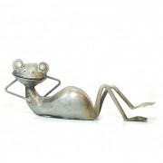 Escultura Decorativa de Metal - Sapo Descansando - Rústico