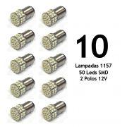 Lote 10 Lampadas 1157 50 Leds SMD 2 Polos 12V - Super Branca - Freio / Lateral