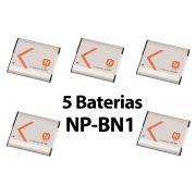Lote 5 Baterias NP-BN1 P/ Câm Sony W330 W320 Tx10