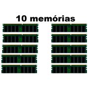 Lote c/ 10 Memórias Desktop 1GB DDR1 DDR 333mhz PC2700