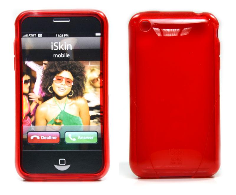 Capa de silicone vermelha + película cristalina para iPhone 3G iSkin solo