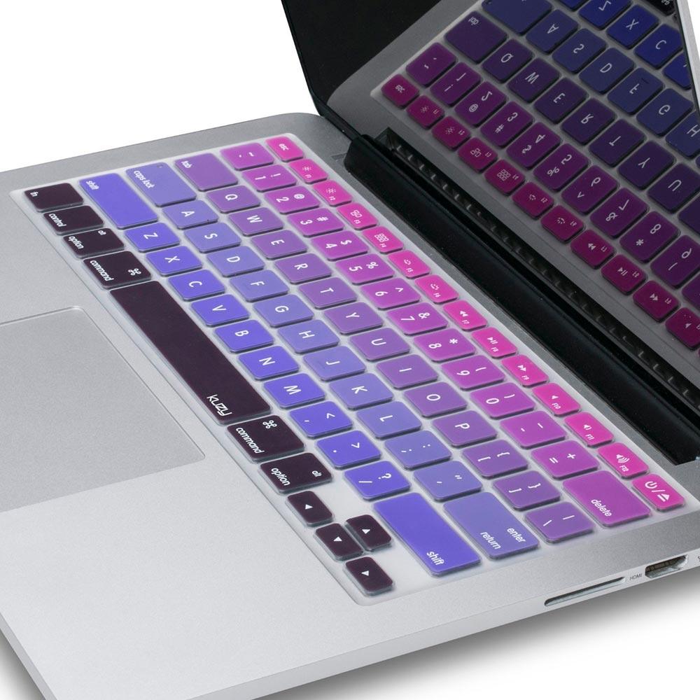 Capa / Skin de Silicone p/ Teclado MacBook Pro, Macbook Air, iMac - Ombre Purple - Kuzy