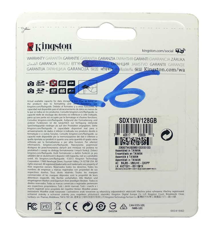Cartão Kingston SDXC 128GB 30MB/s Class 10 HD Video UHS-I - SDX10V/128GB