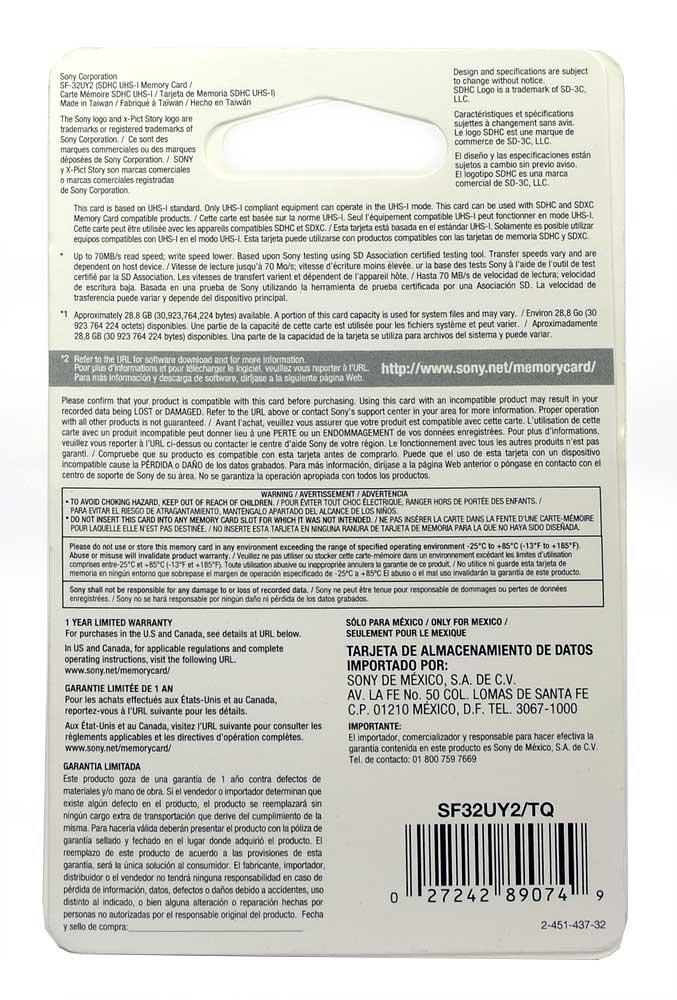 Cartão Sony SDHC UHS-I 32GB 70MB/S Class 10 - SF32UY2/TQ