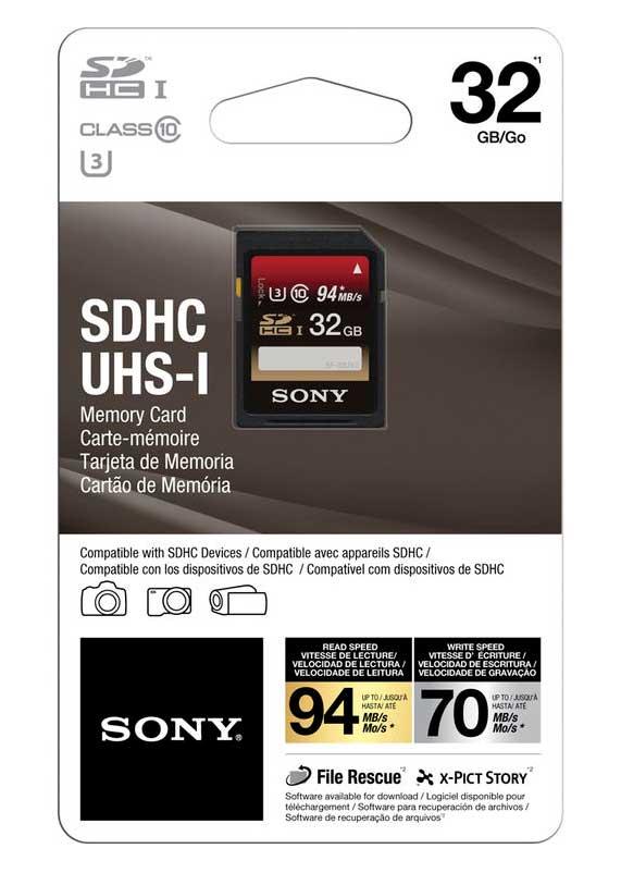 Cartão Sony SDHC UHS-I 32GB 94MB/S U3 Class 10 - SF32UX2/TQ