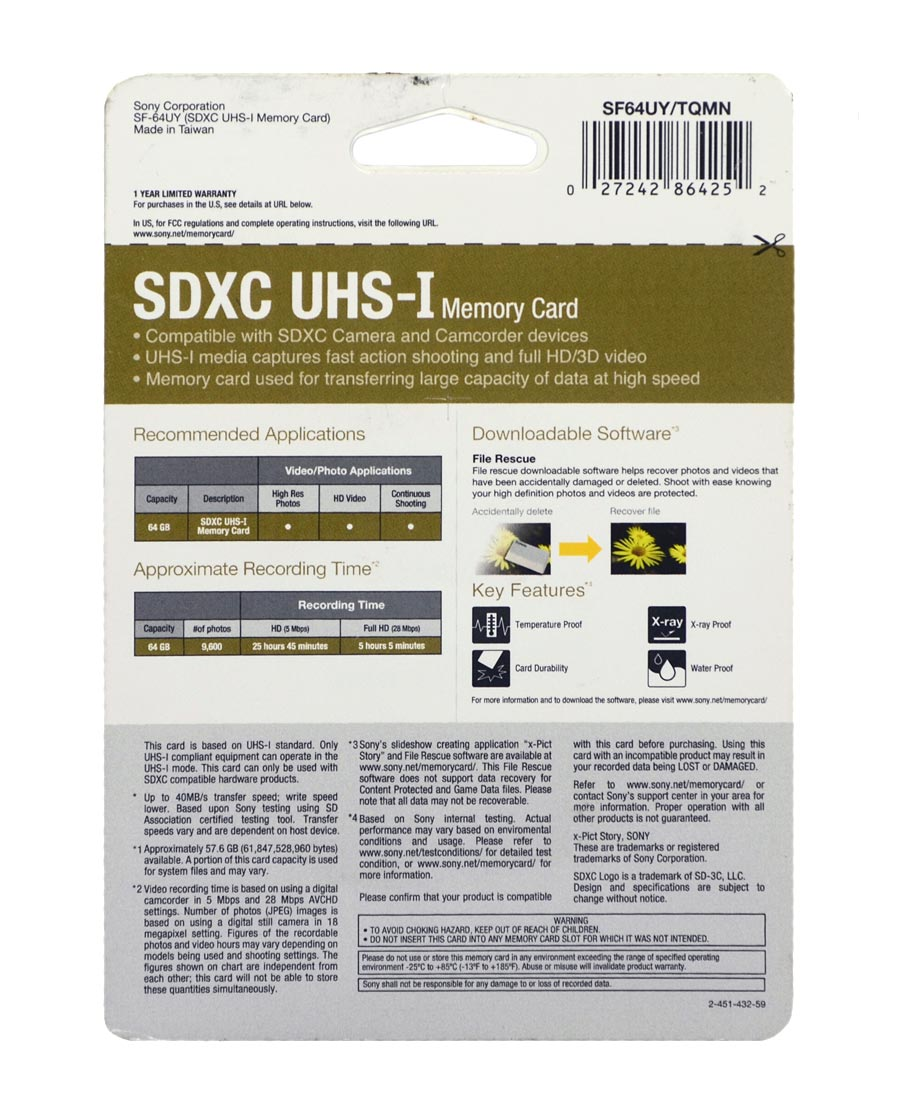 Cartão Sony SDXC UHS-I 64GB 40mb/s Class 10 U1 Vídeos Full HD - SF64UY/TQMN