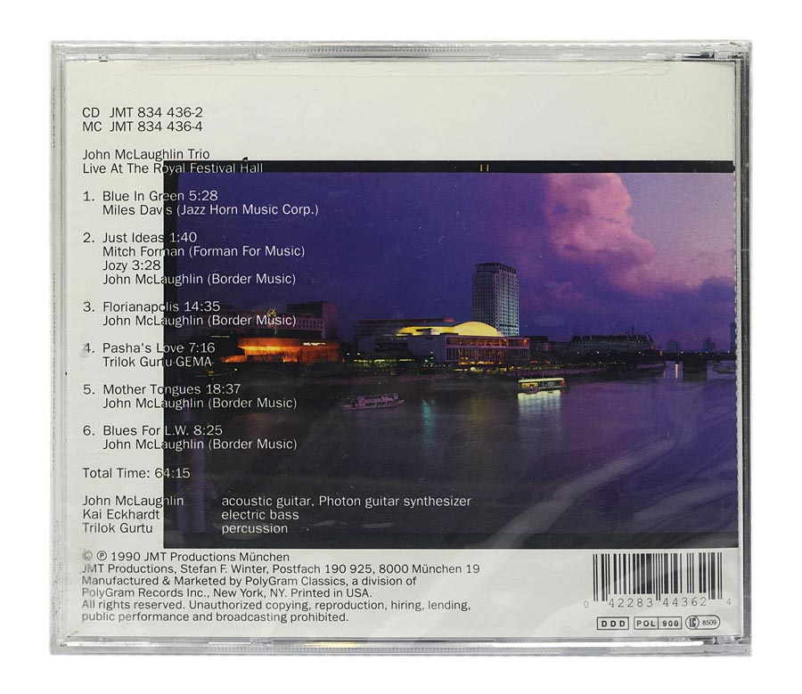 CD John Mclaughlin - Live At The Royal Festival Hall - Importado - Lacrado