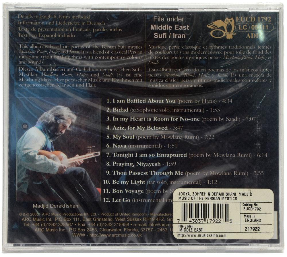 CD Music Of The Persian Mystics - Zohreh Jooya - Importado - Lacrado