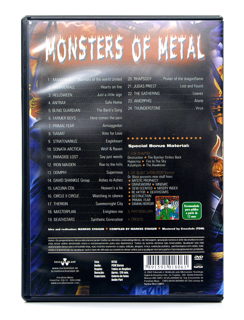 DVD Monsters Of Metal - The Ultimate Metal Compilation Part 1 - Lacrado