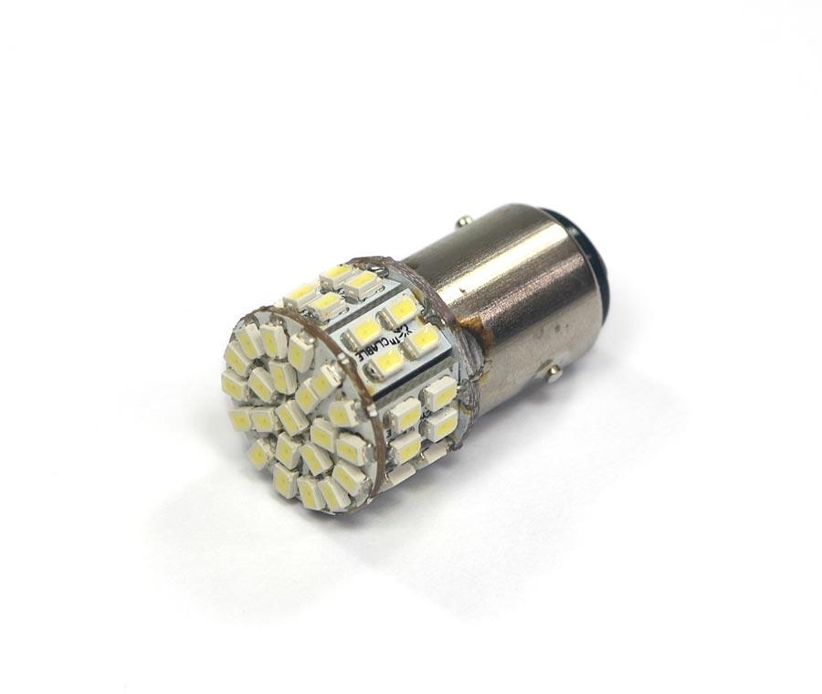 Lampada 1157 50 Leds SMD 2 Polos 12V - Super Branca - Freio / Lateral