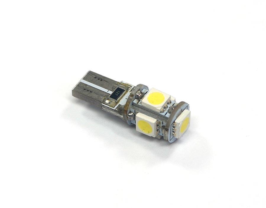 Lampada Pingo Cambus Canceller 5 Leds SMD 5050 T10 W5W - Super Branca Xenon