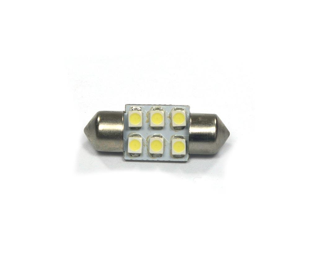 Lampada Torpedo 6 Leds SMD 31mm Super Branca - Luz Teto Placa Porta Mala / Luvas