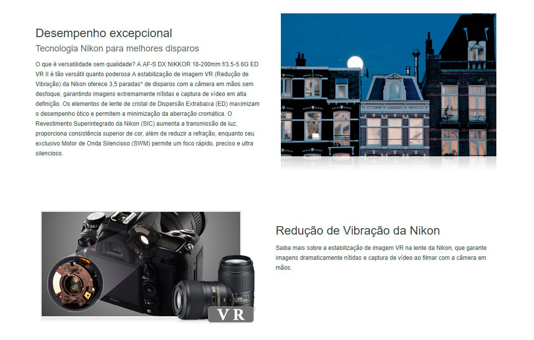 Lente Nikon AF-S DX 18-200mm 3.5-5.6G ED VR II - Na Caixa
