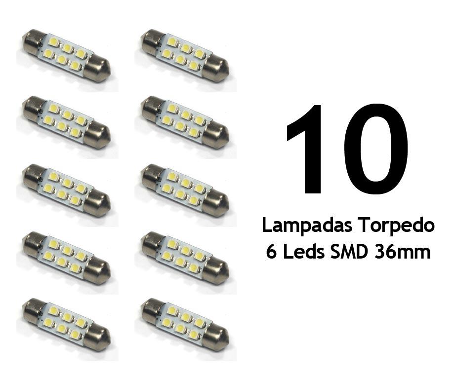 Lote 10 Lampadas Torpedo 6 Leds SMD 36mm Super Branca - Luz Teto Placa Porta Mala / Luvas