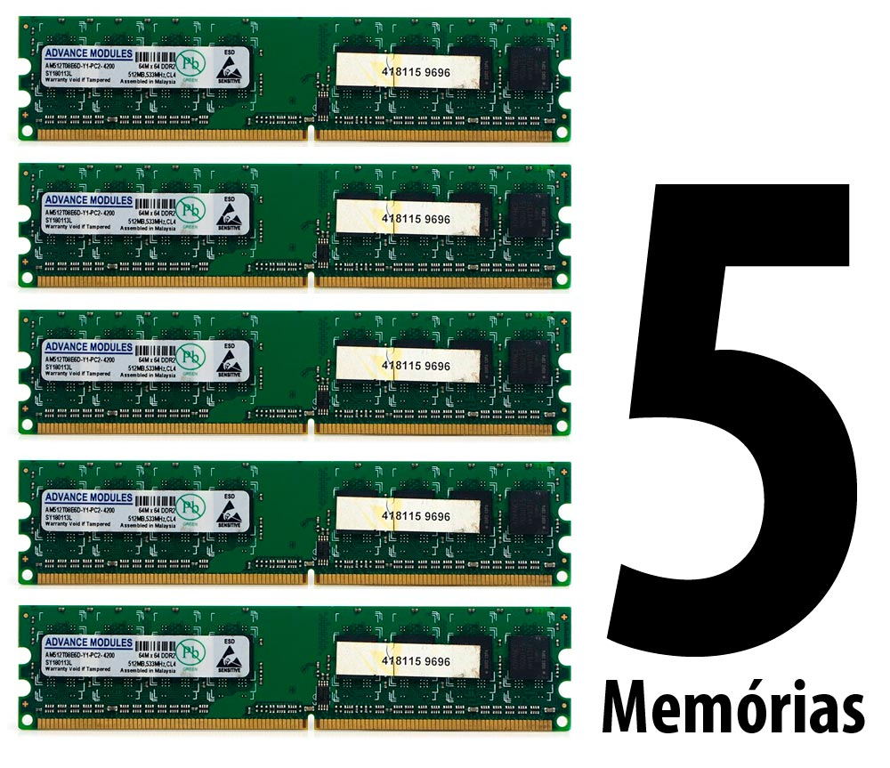 Lote C/ 5 Memórias 512MB DDR2 533Mhz CL4 Advance Modules