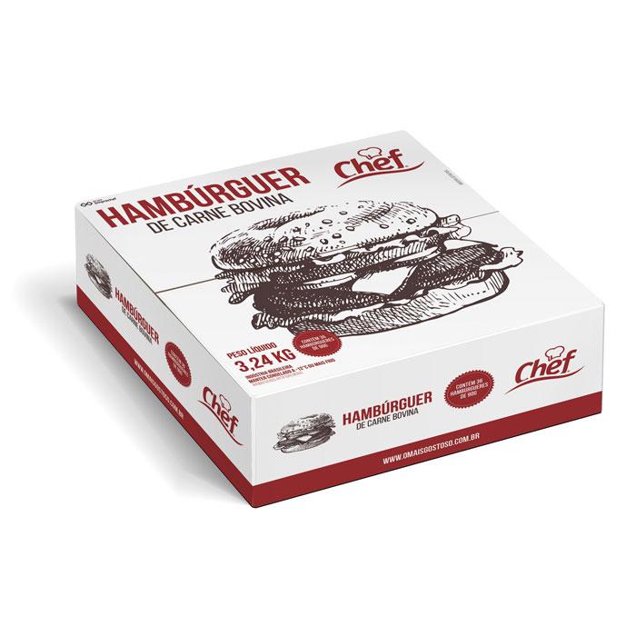 HAMBURGUER BOVINO CHEF BURGUER 90g 3.240 kg CX 36 Unidades (COD. 8888)  - Chef Distribuidora