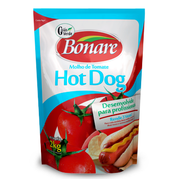 MOLHO DE TOMATE HOT DOG GOIAS VERDE BONARE 2 Kg 1 Sachê (COD. 14785)  - Chef Distribuidora