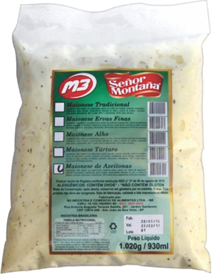 MAIONESE GOURMET SABOR AZEITONAS PRETAS SEÑOR MONTAÑA M3 1,02 Kg 1 BAG (COD. 32115)  - Chef Distribuidora